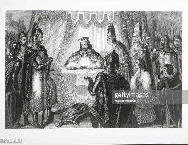 Seal Of King John, King John of England signs the MagnaCarta at Runnymede near Windsor. Prelates and soldiers witness the signing, Runnymede.