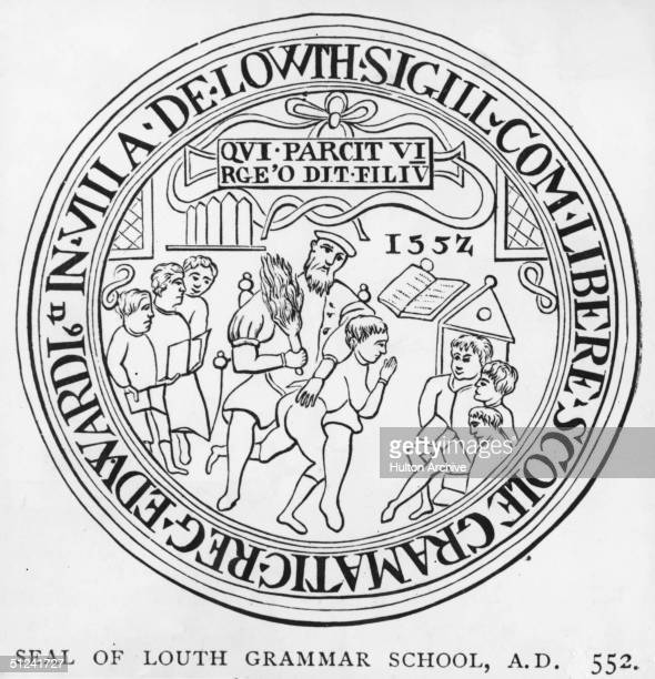 Seal of Louth Grammar School showing a pupil being beaten while others study.