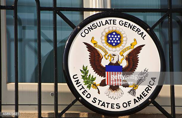 seal of the united states consulate general - consulate stock photos and pictures