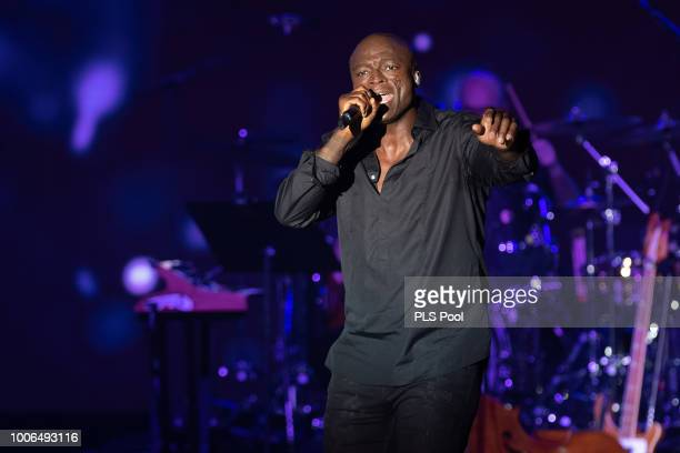 Seal performs on stage during the 70th Monaco Red Cross Ball Gala on July 27 2018 in MonteCarlo Monaco