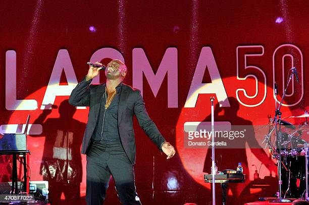Seal performs onstage at LACMA's 50th Anniversary Gala sponsored by Christie's at LACMA on April 18 2015 in Los Angeles California