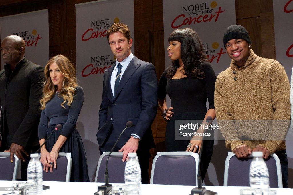 Seal, Sarah Jessica Parker, Gerard Butler, Jennifer Hudson and Ne-Yo attend a press conference ahead of the Nobel Peace Prize Concert at Radisson Blu Plaza Hotel on December 11, 2012 in Oslo, Norway.