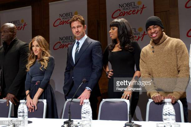 Seal Sarah Jessica Parker Gerard Butler Jennifer Hudson and NeYo attend a press conference ahead of the Nobel Peace Prize Concert at Radisson Blu...