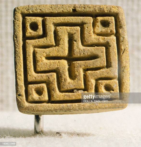 Seal with Greek cross fired quartz from Mohenjodaro Pakistan Indus Valley Civilisation 19th century BC