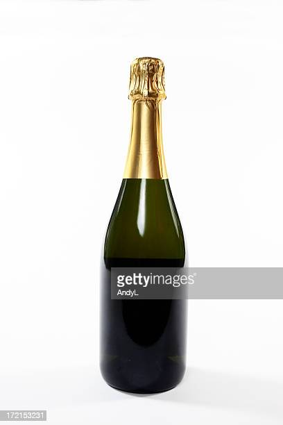 Sealed green champagne bottle on a white background