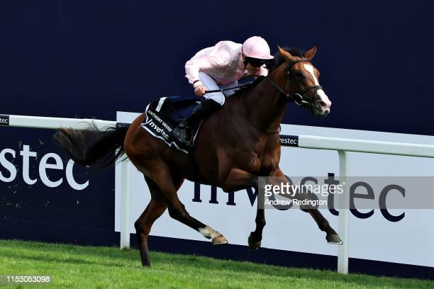 Seamie Heffernan riding Anthony Van Dyck to victory in the Investec Derby Stakes at Epsom Racecourse on June 01, 2019 in Epsom, England.