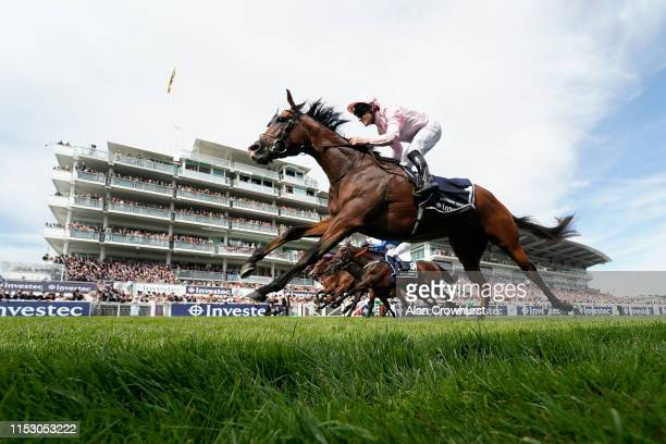 Seamie Heffernan riding Anthony Van Dyck win The Investec Derby Stakes at Epsom Racecourse on June 01, 2019 in Epsom, England.