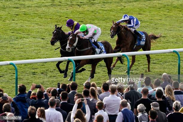Seamie Heffernan riding Low Sun win The Dubai 500000 Cesarewitch Stakes at Newmarket Racecourse on October 13 2018 in Newmarket United Kingdom
