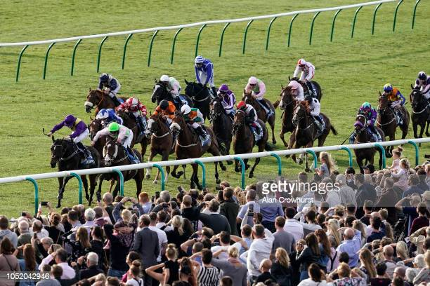 Seamie Heffernan riding Low Sun wins The Dubai 500000 Cesarewitch Stakes at Newmarket Racecourse on October 13 2018 in Newmarket United Kingdom