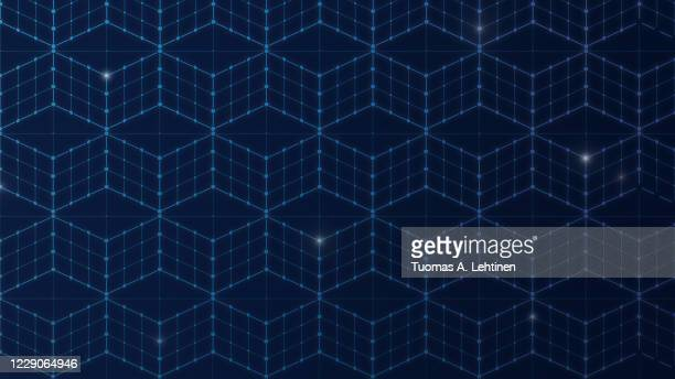 seamless 3d cubes or blocks, data connection network on dark blue background. - dark blue background texture stock pictures, royalty-free photos & images