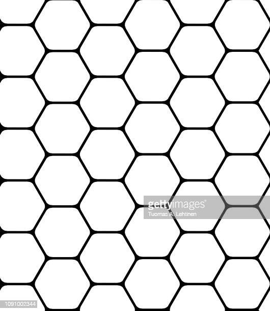 seamless black geometric hexagon pattern on white. simple abstract background. - zweidimensionale form stock-fotos und bilder