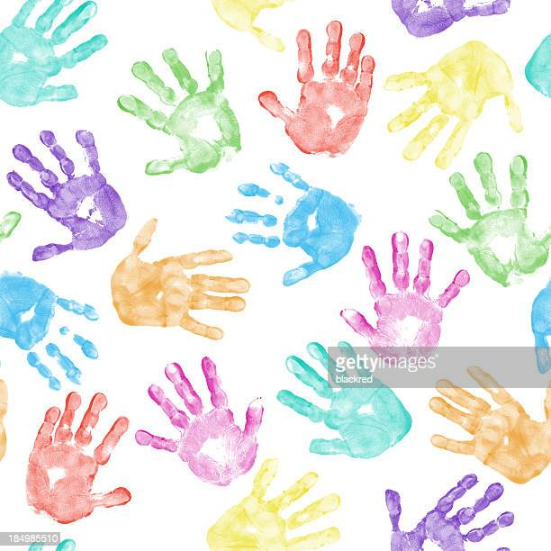 Seamless Child Hand Print Pattern