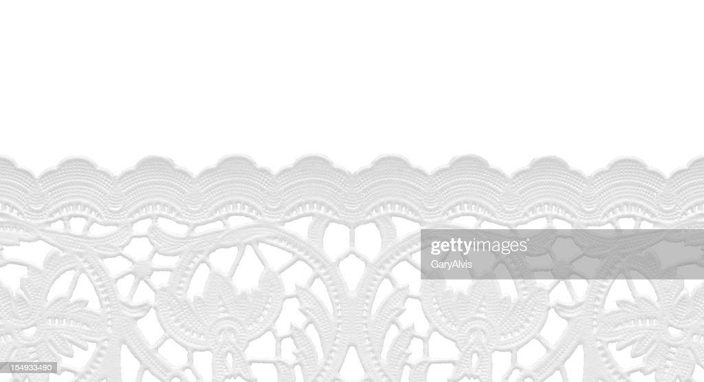 seamless edge lace doily/isolated on white : Stock Photo