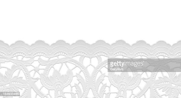 seamless edge lace doily/isolated on white - frilly stock photos and pictures