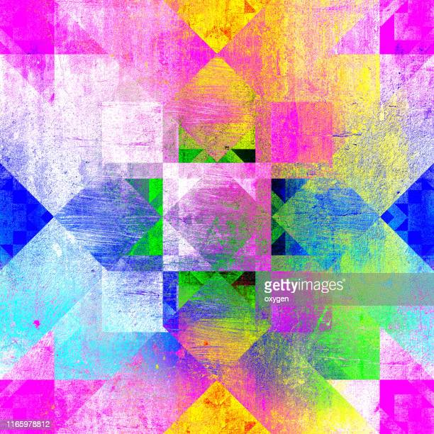 seamless multicolored kaleidoscopic geometric mosaic pattern background - patchwork stock pictures, royalty-free photos & images