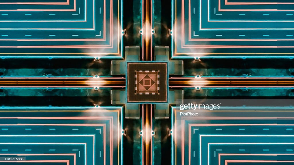 Seamless pattern. Geometric art abstract digital background with neon light lines square : Stock Photo