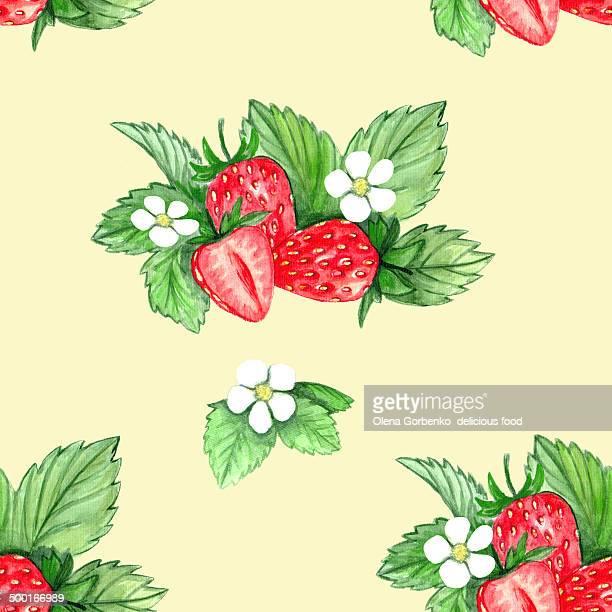 Seamless pattern of strawberry .