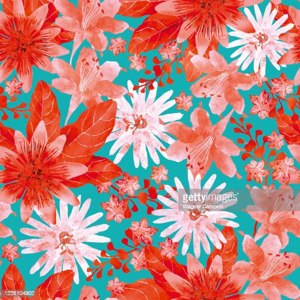 seamless pattern with assorted red flowers - pattern stock pictures, royalty-free photos & images