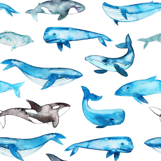 Seamless pattern with watercolor whales.