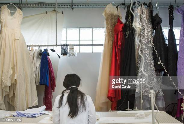 Seamsters prepares medical face masks for packaging at the Tony Ward Couture fashion house on March 26, 2020 in Beirut, Lebanon. The fashion house...