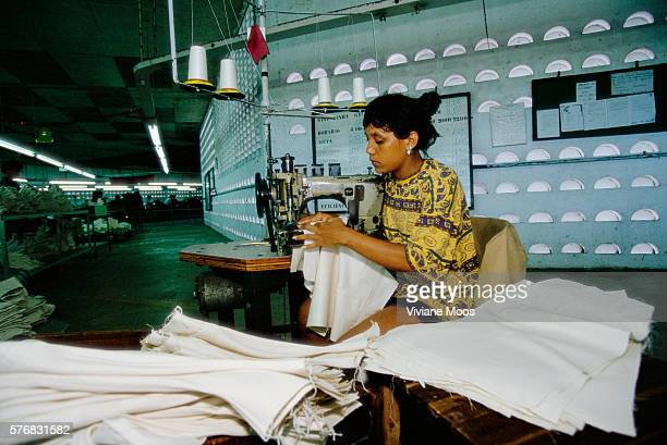 Seamstress Working at Jean Factory in Brazil