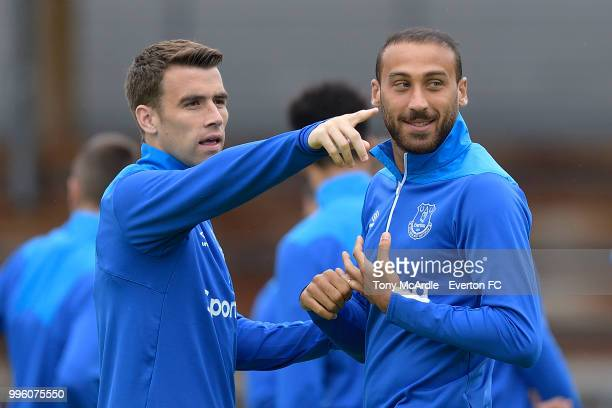 Seamus Coleman and Cenk Tosun of Everton during the Everton training session on July 11 2018 in Bad Mitterndorf Austria