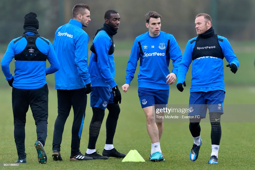 Seamus Coleman and Wayne Rooney during the Everton FC training session at USM Finch Farm on January 12, 2018 in Halewood, England.