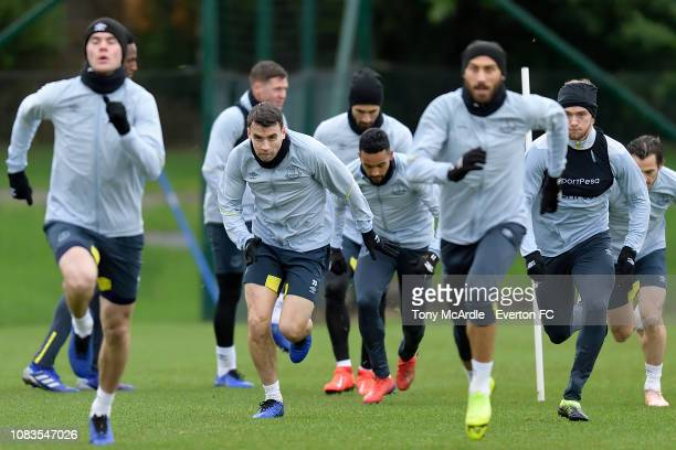 Seamus Coleman during the Everton training session at USM Finch Farm on January 17, 2019 in Halewood, England.