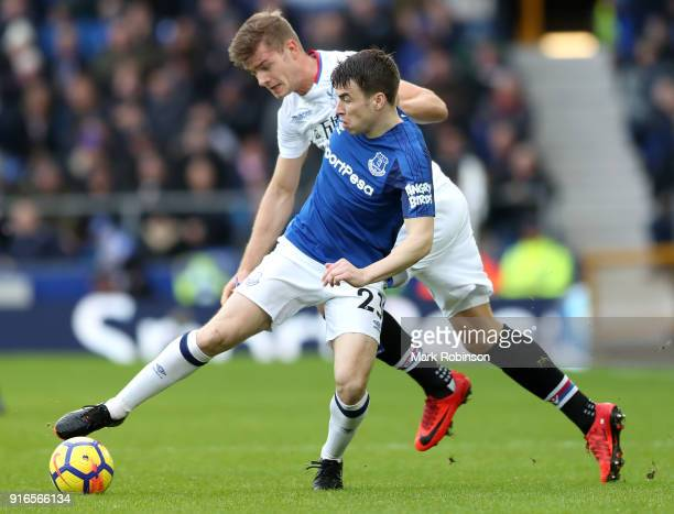 Seamus Coleman of Everton and Alexander Sorloth of Crystal Palace battle for the ball during the Premier League match between Everton and Crystal...
