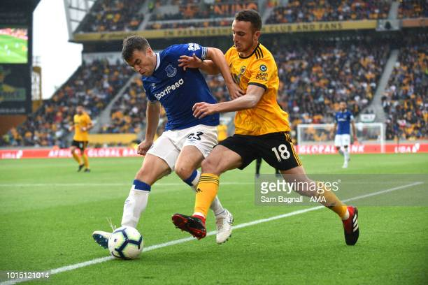 Seamus Coleman of Everton and Diogo Jota of Wolverhampton Wanderers during the Premier League match between Wolverhampton Wanderers and Everton FC at...
