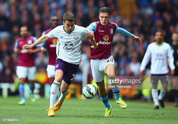 Seamus Coleman of Everton and Jack Grealish of Aston Villa compete for the ball during the Barclays Premier League match between Aston Villa and...
