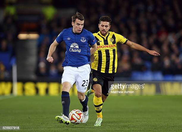 Seamus Coleman of Everton and Jan Lecjaks of Young Boys
