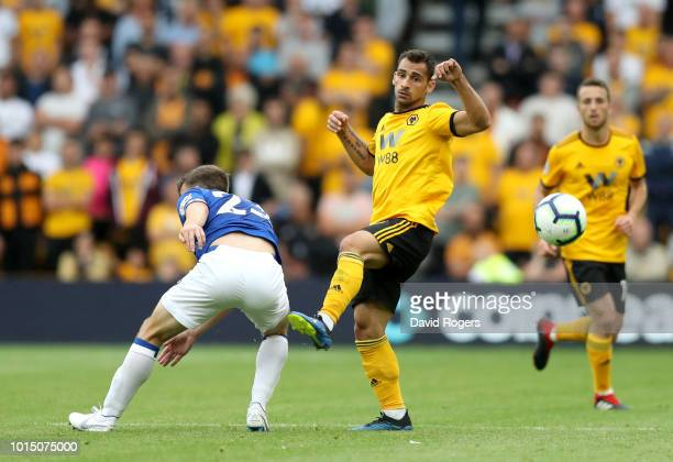 Seamus Coleman of Everton and Jonny Otto of Wolverhampton Wanderers during the Premier League match between Wolverhampton Wanderers and Everton FC at...