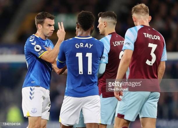 Seamus Coleman of Everton and Matthew Lowton of Burnley exchange words during the Premier League match between Everton and Burnley at Goodison Park...