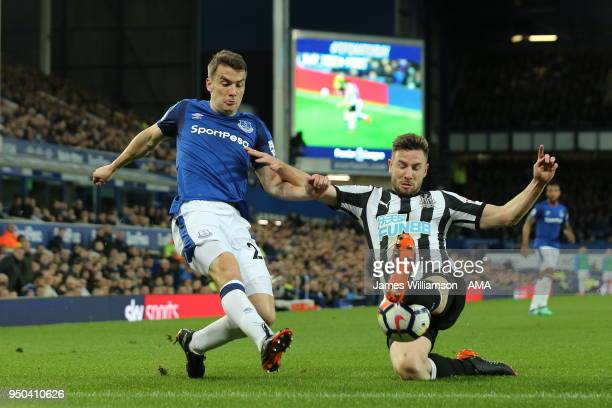 Seamus Coleman of Everton and Paul Dummett of Newcastle United during the Premier League match between Everton and Newcastle United at Goodison Park...