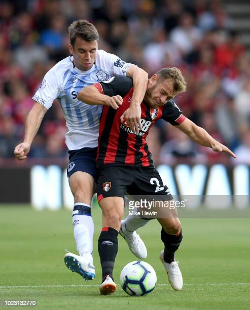 Seamus Coleman of Everton battles for posession with Ryan Fraser of AFC Bournemouth during the Premier League match between AFC Bournemouth and...