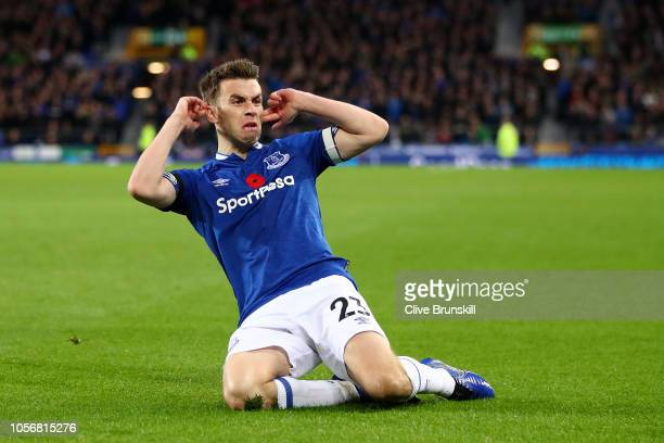 Seamus Coleman of Everton celebrates after scoring his team's second goal during the Premier League match between Everton FC and Brighton Hove Albion...