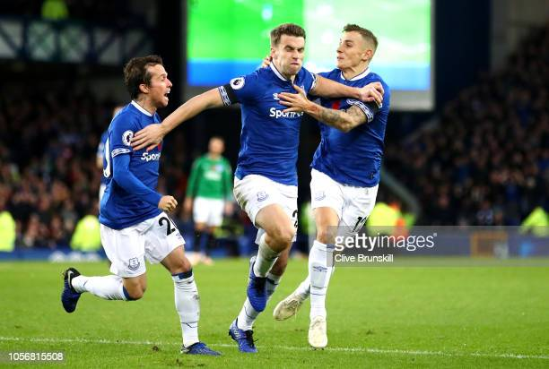 Seamus Coleman of Everton celebrates after scoring his team's second goal with Lucas Digne of Everton and Leighton Baines of Everton during the...