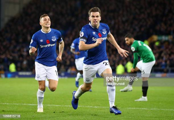 Seamus Coleman of Everton celebrates after scoring his team's second goal with Lucas Digne of Everton during the Premier League match between Everton...
