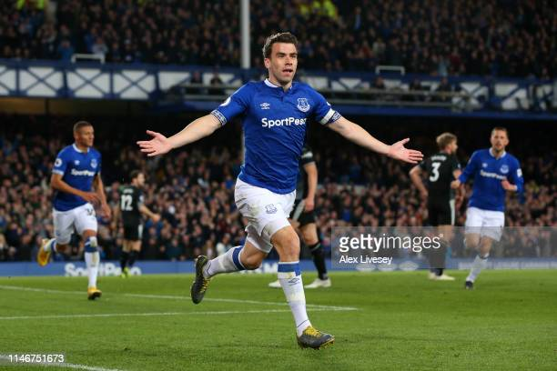 Seamus Coleman of Everton celebrates after scoring his team's second goal during the Premier League match between Everton FC and Burnley FC at...