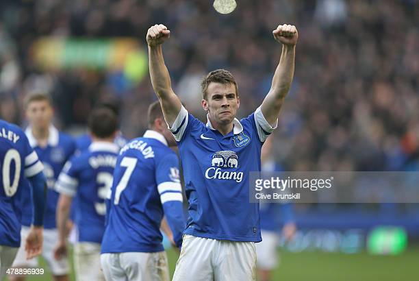 Seamus Coleman of Everton celebrates after scoring the winning goal during the Barclays Premier League match between Everton and Cardiff City at...