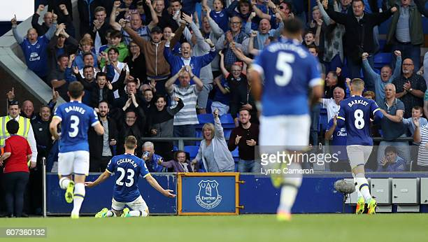 Seamus Coleman of Everton celebrates scoring during the Premier League match between Everton and Middlesbrough at Goodison Park on September 17 2016...