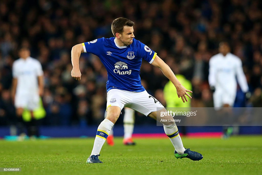 Seamus Coleman of Everton celebrates scoring his sides first goal during the Premier League match between Everton and Swansea City at Goodison Park on November 19, 2016 in Liverpool, England.