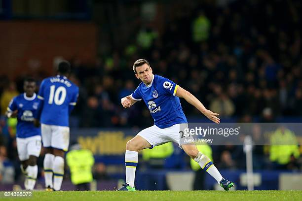 Seamus Coleman of Everton celebrates scoring his sides first goal during the Premier League match between Everton and Swansea City at Goodison Park...
