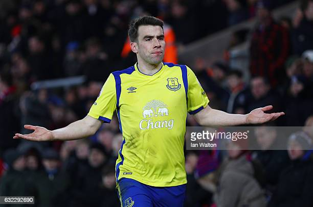 Seamus Coleman of Everton celebrates scoring his sides first goal during the Premier League match between Crystal Palace and Everton at Selhurst Park...