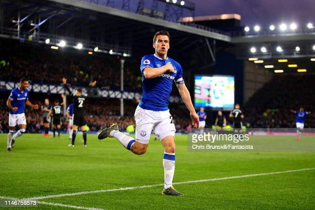 Seamus Coleman of Everton celebrates scoring his side's second goal during the Premier League match between Everton FC and Burnley FC at Goodison...