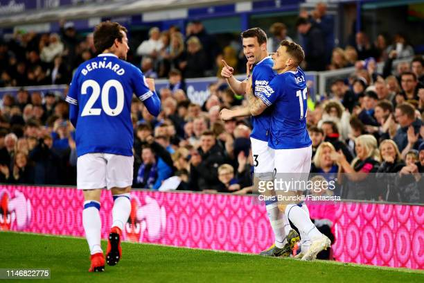 Seamus Coleman of Everton celebrates scoring his sides second goal during the Premier League match between Everton FC and Burnley FC at Goodison Park...
