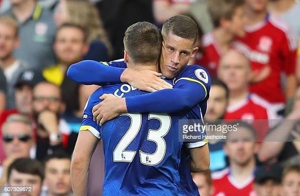 Seamus Coleman of Everton celebrates scoring his sides second goal with Ross Barkley of Everton during the Premier League match between Everton and...