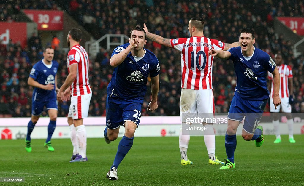 Seamus Coleman of Everton celebrates scoring his team's second goal during the Barclays Premier League match between Stoke City and Everton at Britannia Stadium on February 6, 2016 in Stoke on Trentl, England.