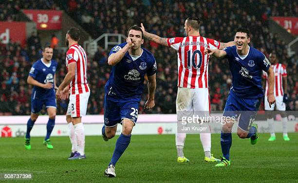 Seamus Coleman of Everton celebrates scoring his team's second goal during the Barclays Premier League match between Stoke City and Everton at...